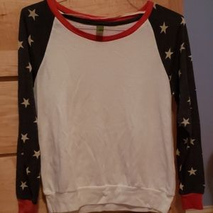 Med Super Soft Red, White, and Blue USA Theme Top